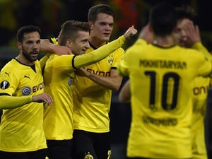 Dortmund's striker Marco Reus (C) celebrates scoring with his teammates during the UEFA Europa League football match Borussia Dortmund vs Qabala FK, in Dortmund, western Germany on November 5, 2015.