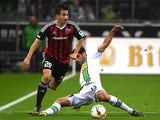 Moenchengladbach's midfielder Lars Stindl (R) and Ingolstadt's Austrian defender Markus Suttner vie for the ball vie for the ball during the German first division football Bundesliga match Borussia Moenchengladbach vs FC Ingolstadt on November 7, 2015, 20