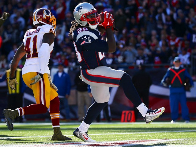 LeGarrette Blount #29 of the New England Patriots scores a touchdown against the Washington Redskins during the first quarter at Gillette Stadium on November 8, 2015