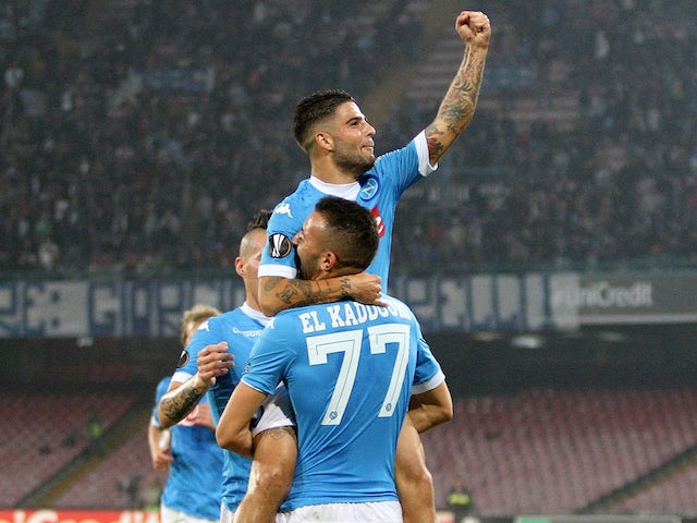 Omar El Kaddouri and Lorenzo Insigne of Napoli celebrate a goal 1-0 scored by Omar El Kaddouri during the UEFA Europa League Group D match between SSC Napoli and FC Midtjylland at Stadio San Paolo on November 5, 2015 in Naples, Italy.