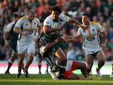 Opeti Fonua of Leicester Tigers in action during the Aviva Premiership match between Leicester Tigers and Wasps at Welford Road on November 1, 2015