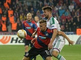 Philipp Prosenik of SK Rapid Wien (R) and Patrik Hrosovsky of FC Viktoria Plzen vie for the ball during the UEFA Europa League football match FC Viktoria Plzen vs SK Rapid Wien in Plzen, on November 5, 2015.