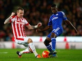 Ramires of Chelsea and Glenn Whelan of Stoke City compete for the ball during the Barclays Premier League match between Stoke City and Chelsea at Britannia Stadium on November 7, 2015 in Stoke on Trent, England.