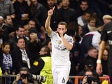 Real Madrid's defender Nacho Fernandez celebrates after scoring a goal during the UEFA Champions League football match Real Madrid CF vs Paris Saint-Germain (PSG) at the Santiago Bernabeu stadium in Madrid on November 3, 2015