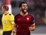 Roma's midfielder from Egypt Mohamed Salah celebrates after scoring during the UEFA Champions League football match AS Roma vs Bayer Leverkusen on November 4, 2015