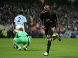 Darren Bent of Tottenham celebrates scoring their first goal during the Barclays Premier League match between Manchester City and Tottenham Hotspur at City of Manchester Stadium on November 9, 2008