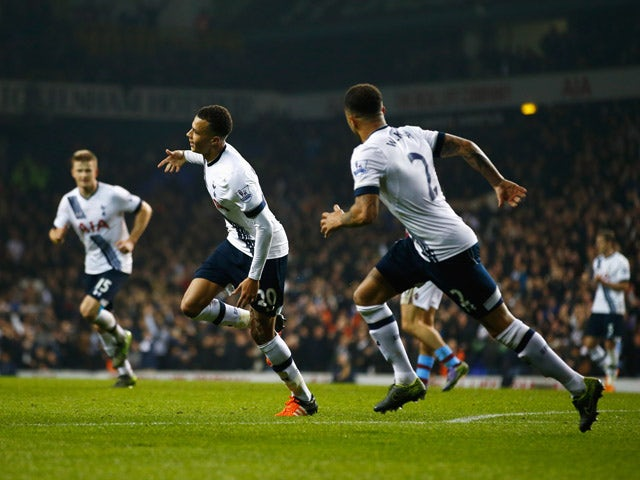 Dele Alli of Tottenham Hotspur (20) celebrates with Kyle Walker (2) as he scores their second goal during the Barclays Premier League match between Tottenham Hotspur and Aston Villa at White Hart Lane on November 2, 2015