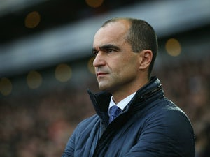 Roberto Martinez Manager of Everton looks on during the Barclays Premier League match between West Ham United and Everton at Boleyn Ground on November 7, 2015 in London, England.
