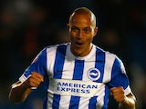 Bobby Zamora of Brighton celebrates after scoring during the Sky Bet Championship match between Brighton & Hove Albion and Bristol City at Amex Stadium on October 20, 2015