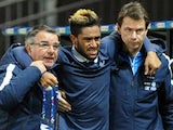 France Under-21's defender Jordan Amavi (C) leaves the field after being injured during the UEFA European Under-21 Championship qualifying football match between France and Northern Ireland on November 12, 2015 at the Roudourou stadium in Guingamp, wester