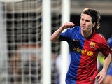 FC Barcelona's Lionel Andres Messi celebrates after scoring against Recreativo Huelva during their Spanish league football match at the Nuevo Colombino's stadium in Huelva, on November 16, 2008