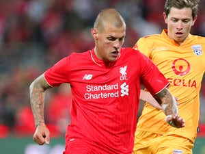 Martin Skrtel of Liverpool FC passes the ball during the international friendly match between Adelaide United and Liverpool FC at Adelaide Oval on July 20, 2015