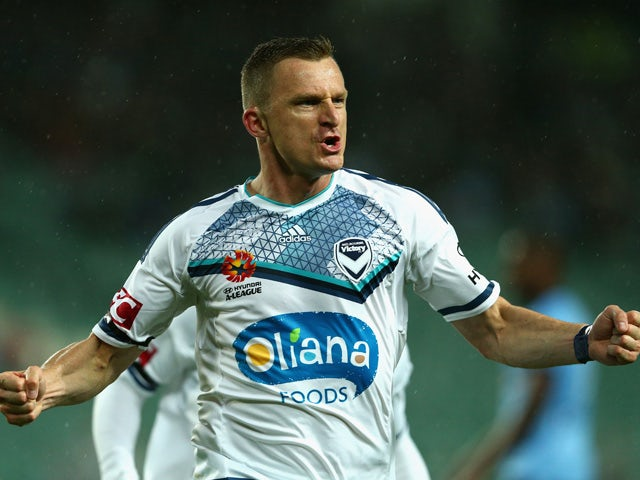 Besart Berisha of the Victory scores a goal during the round six A-League match between Sydney FC and Melbourne Victory at Allianz Stadium on November 14, 2015