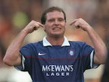 Paul Gascoigne of Rangers celebrates during a Scottish Premier League match against Dundee United at Tannadice Park in Dundee, Scotland. Dundee United won the match 2-1