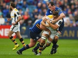 Sam Jones of Wasps is tackled by Devin Toner of Leinster during the European Rugby Champions Cup match between Leinster Rugby and Wasps at the RDS Arena on November 15, 2015 in Dublin, Ireland.