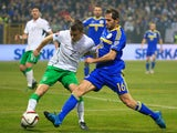 Seamus Coleman (L) of Ireland in action against Senad Lulic (R) of Bosnia during the EURO 2016 Qualifier Play-Off First Leg between Bosnia and Herzegovina and Republic of Ireland at Bilino Polje Stadium on November 13, 2015 in Zenica, Bosnia and Herzegovi