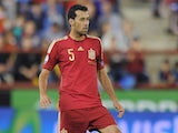 Sergio Busquets of Spain in action during the UEFA EURO 2016 Qualifier group C match between Spain and Luxembourg at Estadio Municipal Las Gaunas on October 9, 2015 in Logrono, Spain.