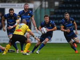 Charlie Mulchrone of Worcester Warriors pushes forward during the European Rugby Challenge Cup match between Worcester Warriors and La Rochelle at Sixways Stadium on November 14, 2015