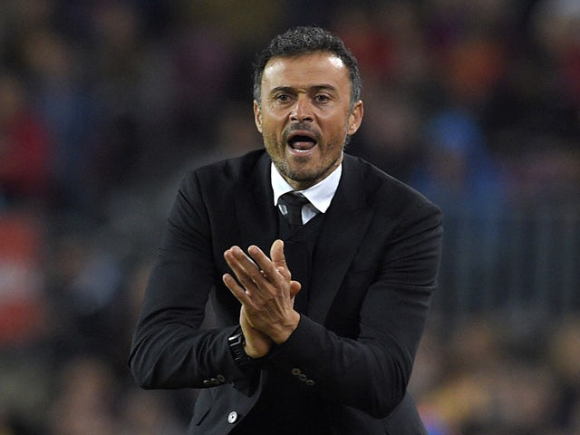 Barcelona's coach Luis Enrique shouts from the sidelines during the Spanish league football match FC Barcelona vs SD Eibar at the Camp Nou stadium in Barcelona on October 25, 2015