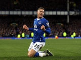 Ross Barkley of Everton celebrates his team's third goal during the Barclays Premier League match between Everton and Aston Villa at Goodison Park on November 21, 2015