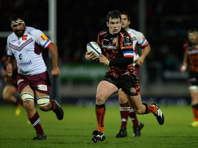 Ian Whitten of Exeter makes a break during the European Rugby Champions Cup match between Exeter Chiefs and Bordeaux-Begles at Sandy Park on November 21, 2015 in Exeter, England.