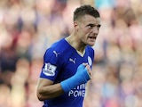 Jamie Vardy celebrates scoring against Stoke on September 19, 2015