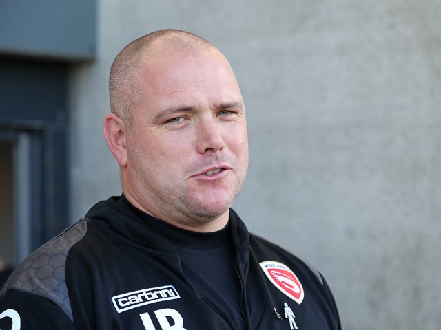 Morecambe manager Jim Bentley looks on prior to the Sky Bet League Two match between Morecambe and Northampton Town at Globe Arena on September 19, 2015