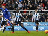 Leicester City's English striker Jamie Vardy scores his team's first goal during the English Premier League football match between Newcastle United and Leicester City at St James' Park in Newcastle-upon-Tyne, north east England, on November 21, 2015
