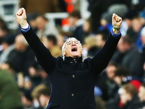 Leicester City manager Claudio Ranieri celebrates his teams third goal during the Barclays Premier League match between Newcastle and Leicester City at St James Park on November 21, 2015
