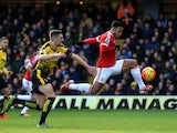 Memphis Depay of Manchester United scores his team's first goal during the Barclays Premier League match between Watford and Manchester United at Vicarage Road on November 21, 2015