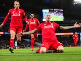 Martin Skrtel of Liverpool celebrates scoring his team's fourth goal during the Barclays Premier League match between Manchester City and Liverpool at Etihad Stadium on November 21, 2015 in Manchester, England.