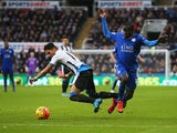 Ayoze Perez of Newcastle United and Ngolo Kante of Leicester City compete for the ball during the Barclays Premier League match between Newcastle United and Leicester City at St James' Park on November 21, 2015