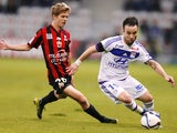 Lyon's French midfielder Mathieu Valbuena (R) vies with Nice's French midfielder Vincent Koziello during the French L1 football match Nice (OGC Nice) vs Lyon (OL) on November 20, 2015 at the 'Allianz Riviera' stadium in Nice, southeastern France.