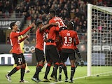 Rennes' French forward Ousmane Dembele (2ndR) celebrates with teammates after scoring a goal during the French L1 football match Rennes against Bordeaux on November 22, 2015