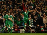 Jon Walters #14 of the Republic of Ireland celebrates after scoring the opening goal from the penalty spot during the UEFA EURO 2016 Qualifier play off, second leg match between Republic of Ireland and Bosnia and Herzegovina at the Aviva Stadium on Novemb