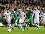 Jon Walters of Republic of Ireland scores from the penalty spot during the Euro 2016 play-off second leg match between the Republic of Ireland and Bosnia-Herzegovina at Aviva Stadium on November 16, 2015
