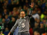 Martin O'Neill the manager of the Republic of Ireland reacts during the UEFA EURO 2016 Qualifier play off, second leg match between Republic of Ireland and Bosnia and Herzegovina at the Aviva Stadium on November 16, 2015