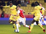 Monaco's Portuguese midfielder Silva Bernardo (C) vies with Nantes' Malian midfielder Birama Toure (L) and Nantes' French forward Jules Iloki (R) during the French L1 football match Monaco between and Nantes on november 21, 2015 at the'Louis II Stadium in