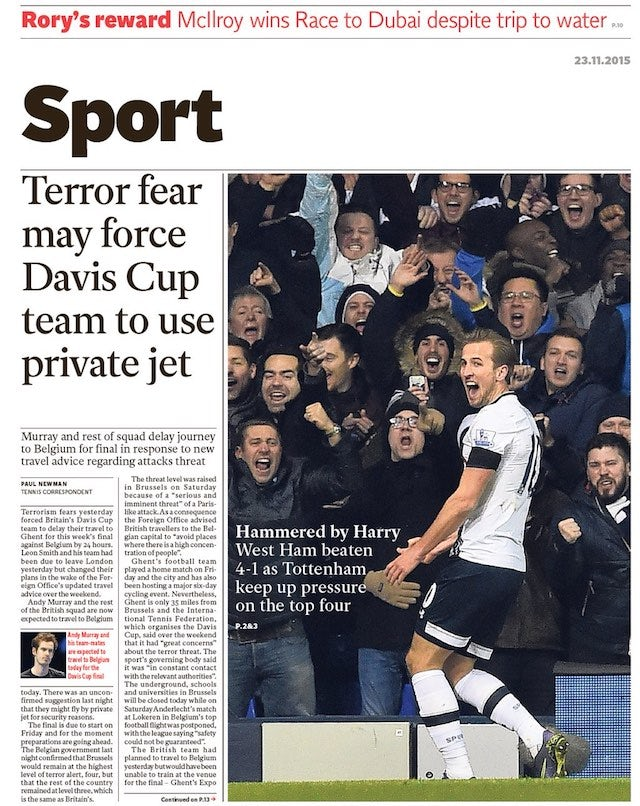 The Independent back page for November 23, 2015 - Sports Mole