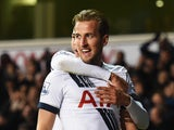 Harry Kane of Tottenham Hotspur celebrates scoring his teams third goal during the Barclays Premier League match between Tottenham Hotspur and West Ham United at White Hart Lane on November 22, 2015