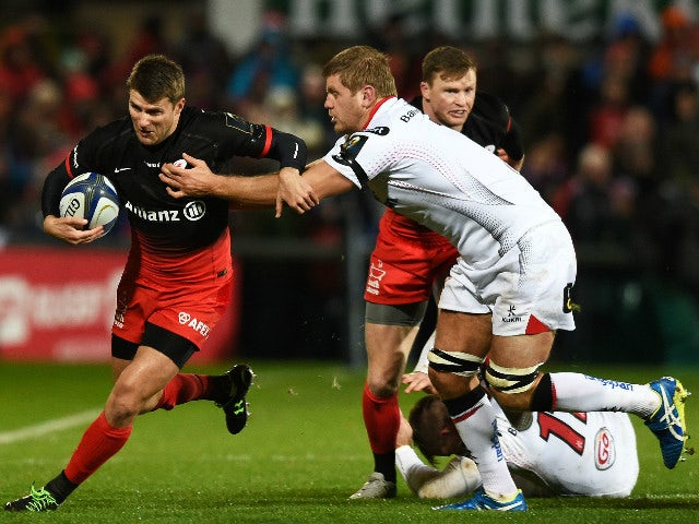 Chris Henry (R) of Ulster and Richard Wigglesworth (L) of Saracens during the European Champions Cup Pool 1 rugby game at Kingspan Stadium on November 20, 2015 in Belfast, Northern Ireland.