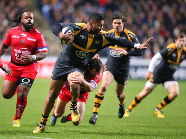 Frank Halai of Wasps breaks with the ball during the European Rugby Champions Cup match between Wasps and Toulon at the Ricoh Arena on November 22, 2015
