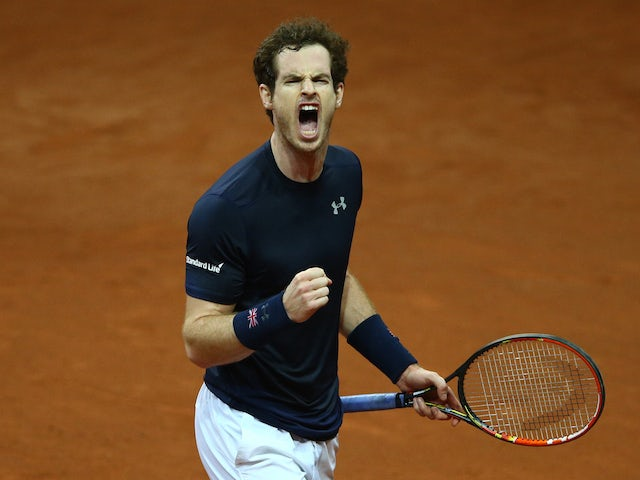 Andy Murray of Great Britain celebrates during the singles match against Ruben Bemelmans of Belgium on day one of the Davis Cup Final 2015 at Flanders Expo on November 27, 2015 in Ghent, Belgium.