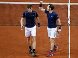 Andy Murray of Great Britain celebrates during day two of the Davis Cup Final match between Belgium and Great Britain at Flanders Expo on November 28, 2015