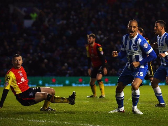 Bobby Zamora of Brighton and Hove Albion celebrates scoring during the Sky Bet Championship match between Brighton and Hove Albion and Birmingham City on November 28, 2015
