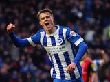 Solly March of Brighton and Hove Albion celebrates scoring during the Sky Bet Championship match between Brighton and Hove Albion and Birmingham City on November 28, 2015