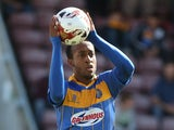 Cameron Gayle of Shrewsbury Town in action during the Sky Bet League Two match between Northampton Town and Shrewsbury Town at Sixfields Stadium on August 23, 2014