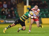 Charles Sharples of Gloucester Rugby breaks with the ball during the Aviva Premiership match between Northampton Saints and Gloucester Rugby at Franklin's Gardens on November 27, 2015 in Northampton, England.