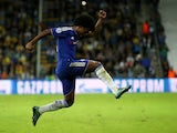 Willian of Chelsea celebrates scoring his teams second goal during the UEFA Champions League Group G match between Maccabi Tel-Aviv FC and Chelsea FC at Sammy Ofer Stadium on November 24, 2015