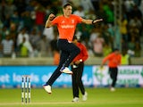 Chris Woakes of England celebrates winning the 2nd International T20 between Pakistan and England at Dubai Cricket Stadium on November 27, 2015 in Dubai, United Arab Emirates.